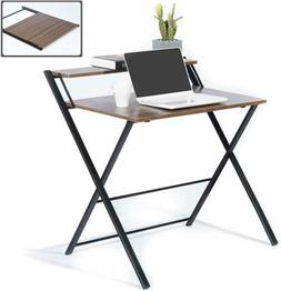 Folding Desk for Small Space 2 Tiers Computer Desk with Shel