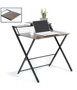 GreenForest Folding Desk for Small Space, 2 Tiers Computer T