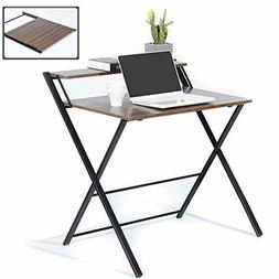 GreenForest Folding Desk for Small Space 2 Tiers Computer De