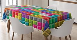 Ambesonne Video Games Tablecloth, Colorful Retro Gaming Comp