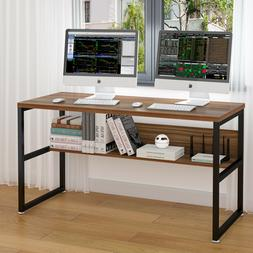 Gaming Computer Desk with Bookshelf for Home Office Oak Brow