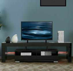 "63"" TV Stand Unit Cabinet Modern w/LED Shelve 2 Drawer Conso"