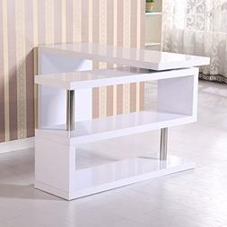 GHP Glossy White Wooden 360° Rotating Shelf Computer PC Wor