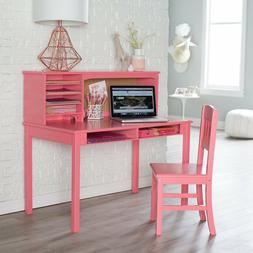 Girls Study Desk for Kids with Chair Pink Hutch Set Small Co