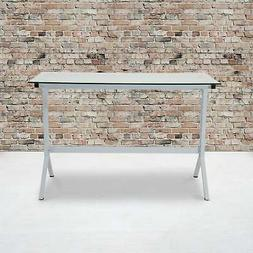 Glass Computer Desk with Metal Frame - Home Office Furniture