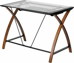 Glass Computer Desk with Pull-Out Keyboard Tray and Crisscro