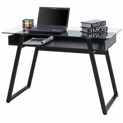 Glass Top Computer Desk PC Laptop Table Writing Study Workst