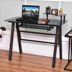 Glass Top Computer Desk PC Laptop Table Workstation Metal Fr