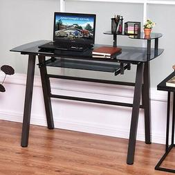 Glass Top Computer Desk with Printer Shelf Office Home Works