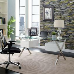 Glass-Top Contemporary Modern Computer Home Office Desk in W