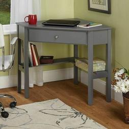 Gray Grey Finish Wooden Corner Computer Desk Laptop Student