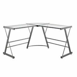 Grey Gray Metal Glass L Shaped Corner Work Desk Office Lapto