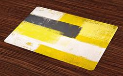 Ambesonne Grey and Yellow Place Mats Set of 4, Abstract Grun