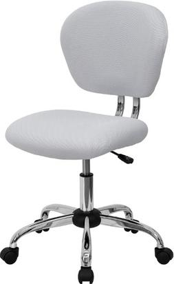 Flash Furniture Mid-Back White Mesh Swivel Task Chair with C