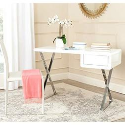 Safavieh Hanover Desk, White and Chrome