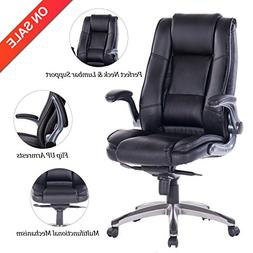 VANBOW High Back Leather Office Chair - Adjustable Tilt Angl