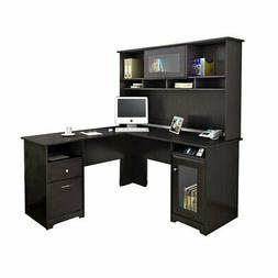 Trent Home Highcroft L Shaped Computer Desk with Hutch in Es