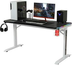 "Ergonomic 55"" Computer Gaming Desk T-Shaped Gamer Table W/ R"