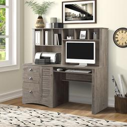 Home Office Computer Desk with Hutch and Drawers/hanging Let