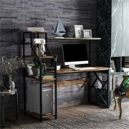 Home Office Computer Desk with Hutch & Shelf + 5 Tier Booksh