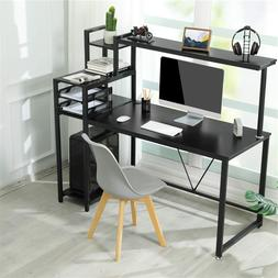 Home Office Computer Desk with Hutch and 4-Tier Shelves Book