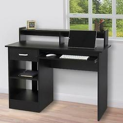 Black Computer Desk Home Office Workstation Laptop Table Dra