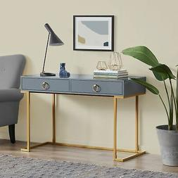 Home Office Two-Drawers Computer Desk Vanity Table, Wood And