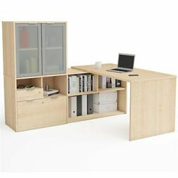 Bestar i3 Plus L Shape Computer Desk with Hutch in Northern
