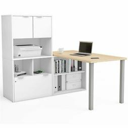 Bestar i3 Plus L Shape Computer Desk with Hutch in Maple and