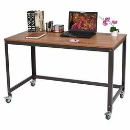 Industrial Modern Steel Frame Wood Top Computer Desk with Lo