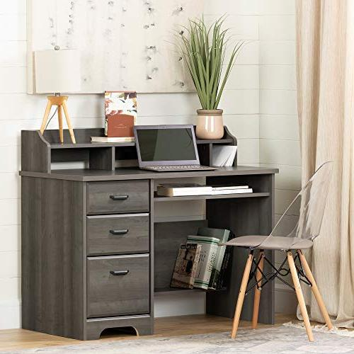 South Computer Desk with Hutch, Gray Maple