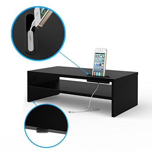 1homefurnit Universal Wood Monitor Stands Laptop Computer Desk Organizer with