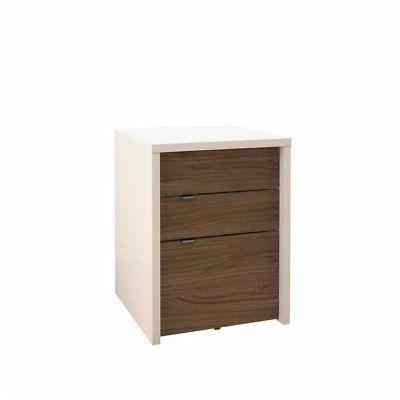 Nexera Liber-T 2 Person Office Desk with Cabinet Walnut 400610