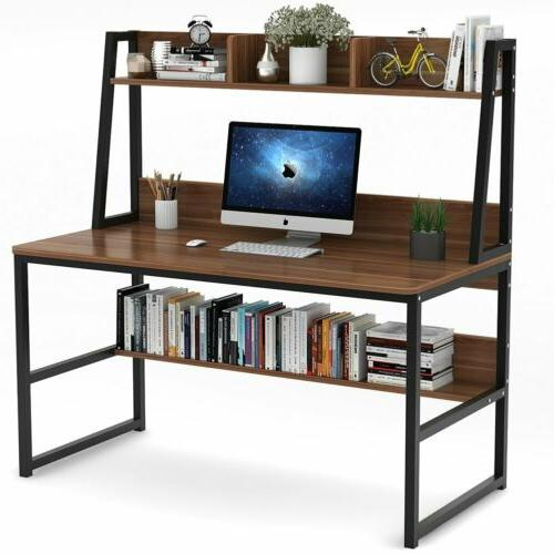 Tribesigns Retro Brown Computer Desk with Hutch & Bookshelf