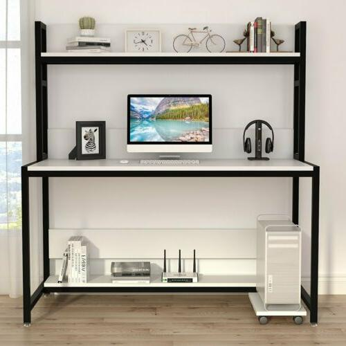 Home Office 47/55'' Large Computer Desk with Hutch Bookshelf