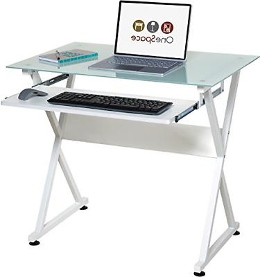 ultramodern glass computer desk with pull out