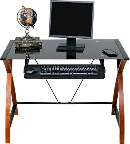 OneSpace Glass and Computer Desk with Keyboard Tray