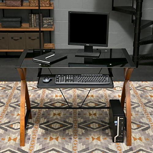OneSpace Glass Computer Desk with Pullout Keyboard Tray
