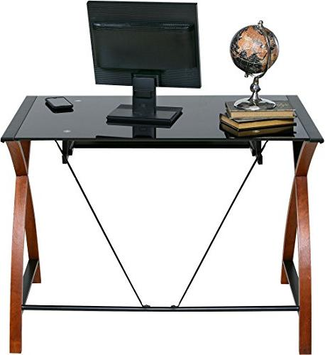 OneSpace Glass and Computer with Keyboard Tray