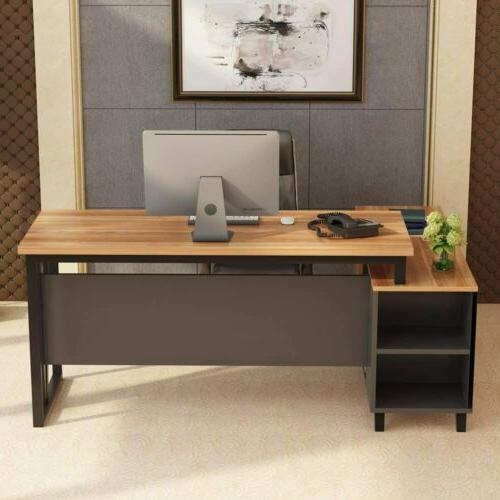55 inch L-Shaped Desk Computer Desk Workstation with File Ca