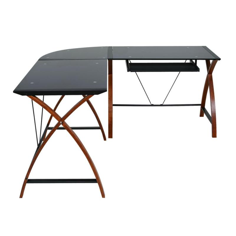 63 L-Shaped Black/Brown Computer Desk with Tray