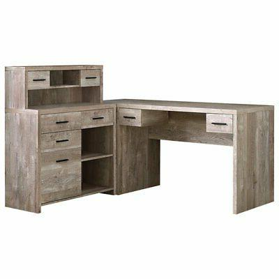 63 l shaped computer desk in taupe