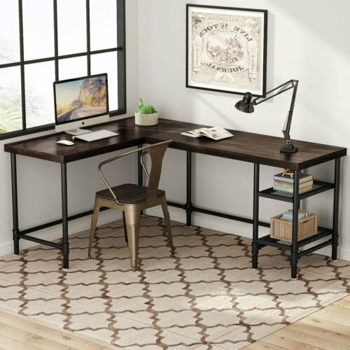 """67"""" Industrial Corner Computer Office Desk PC Study Table Wo"""