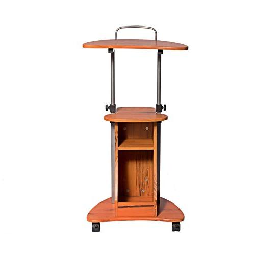 Adjustable Laptop Cart With Storage. Color: