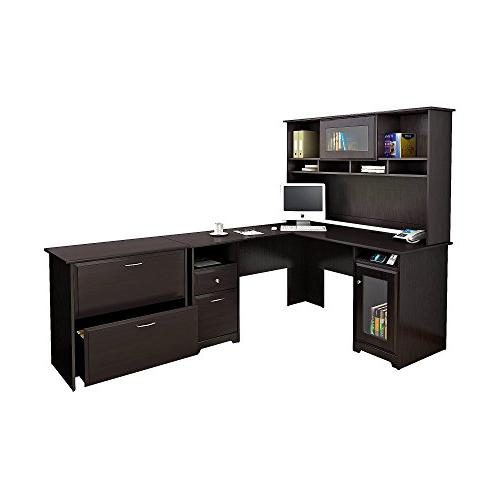 Bush Furniture Cabot L Shaped Desk with Hutch and Lateral Fi