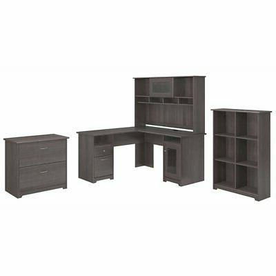 Cabot L Shaped Desk with Hutch, 6 Cube Bookcase and Lateral