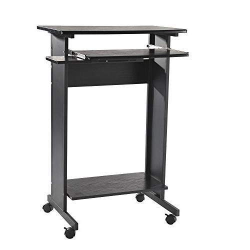 "HomCom 30"" Mobile Rolling Computer Workstation Standing Desk"