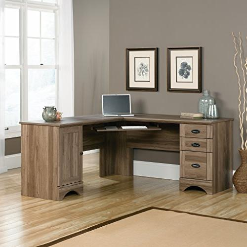 "Sauder 417586 Harbor Computer L: x W: 66.14"" H: 30.28"" Oak Finish"