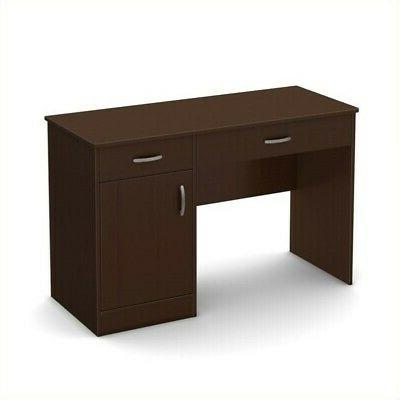 South Shore 7259070 Small Computer Desk with Drawers, Chocol