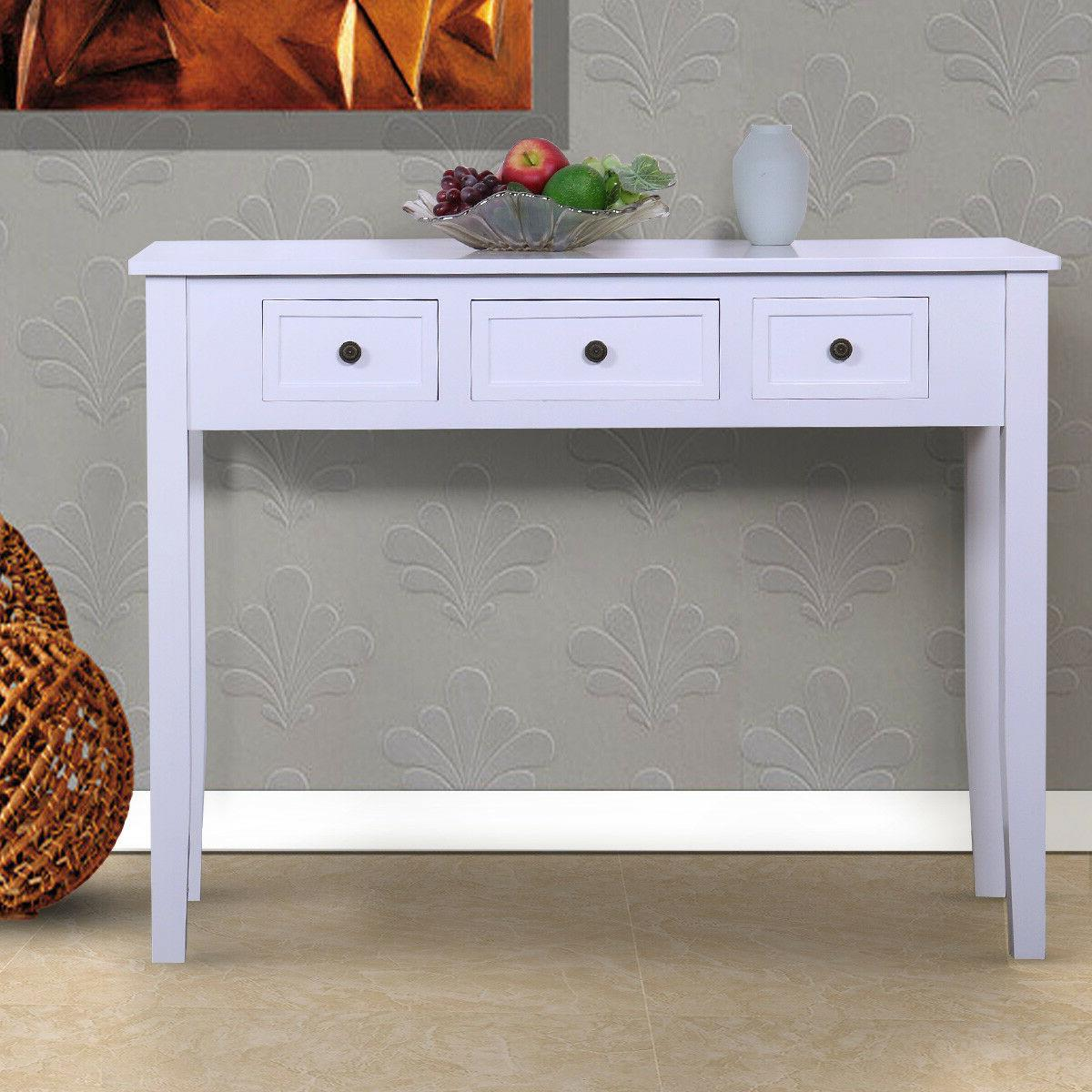 Wood Console Table Study Desk for Home Office White with 3 D